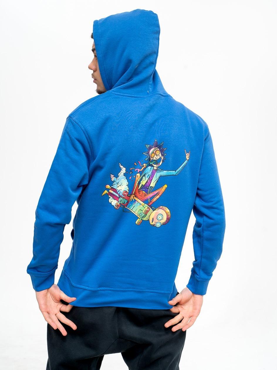 Bluza Z Kapturem Rick And Morty Mortyboard Niebieska
