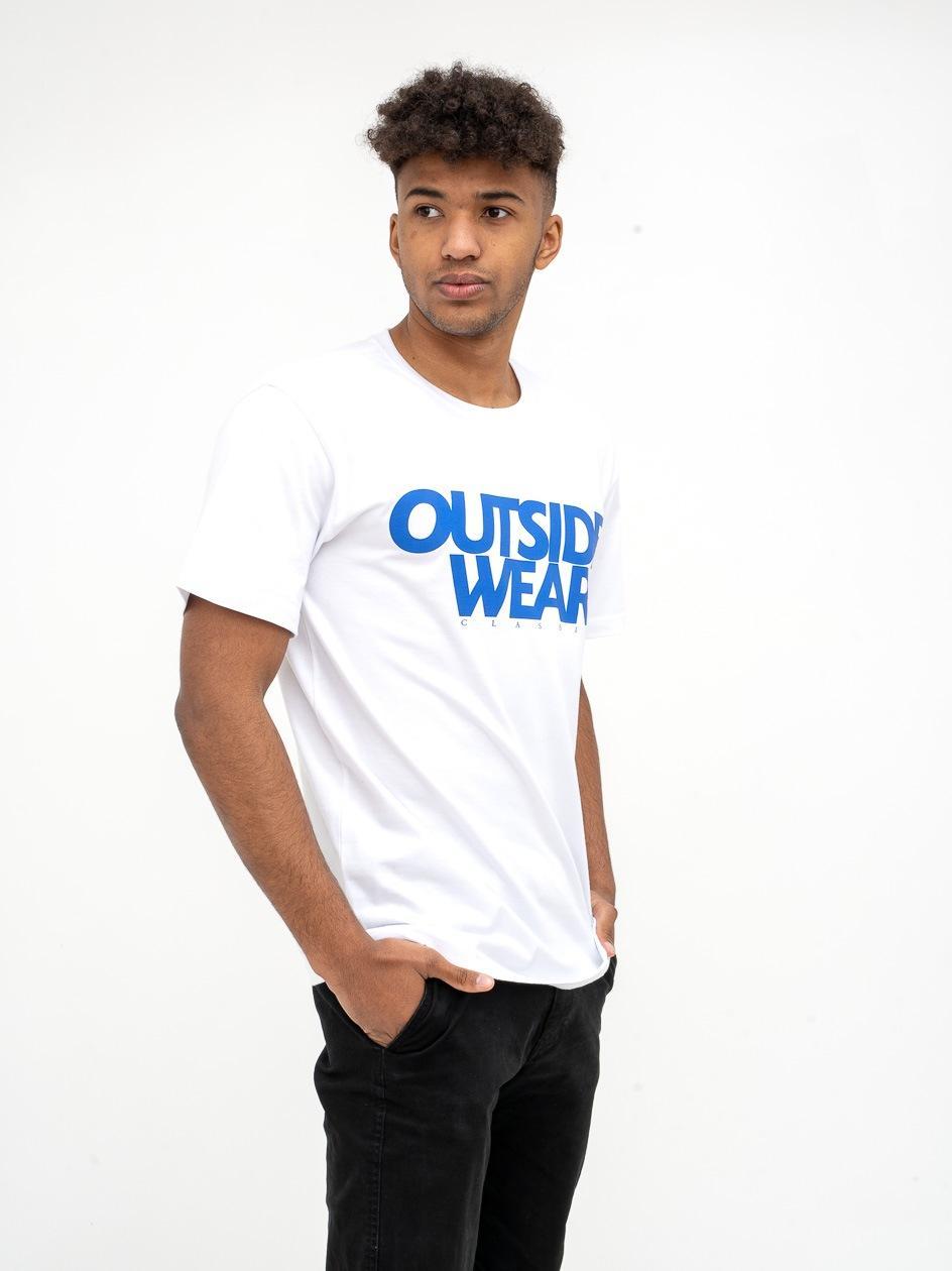 Koszulka Z Krótkim Rękawem Outsidewear Classic Biała / Niebieska