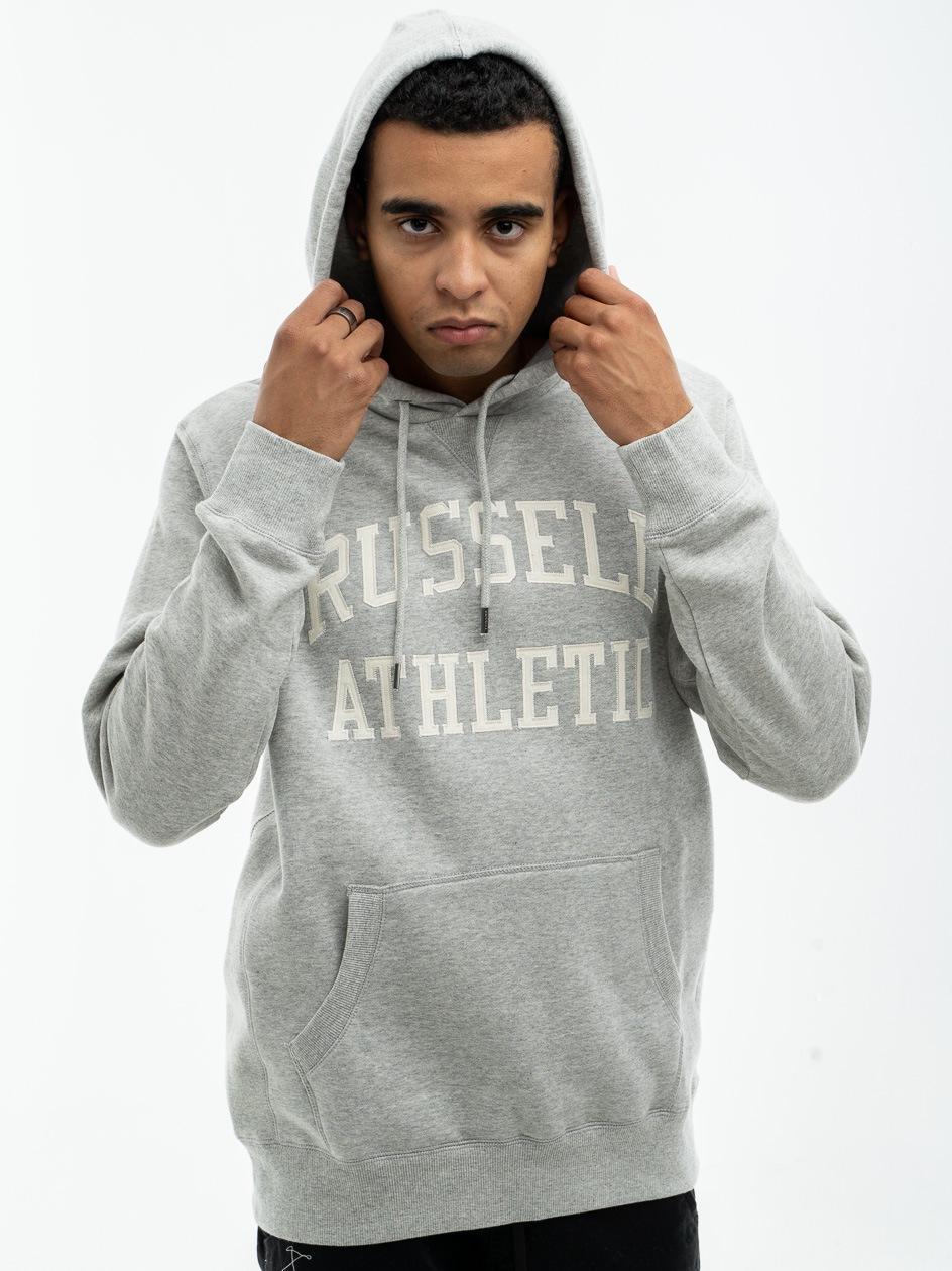 Bluza Z Kapturem Russell Athletic Haft Logo Szara