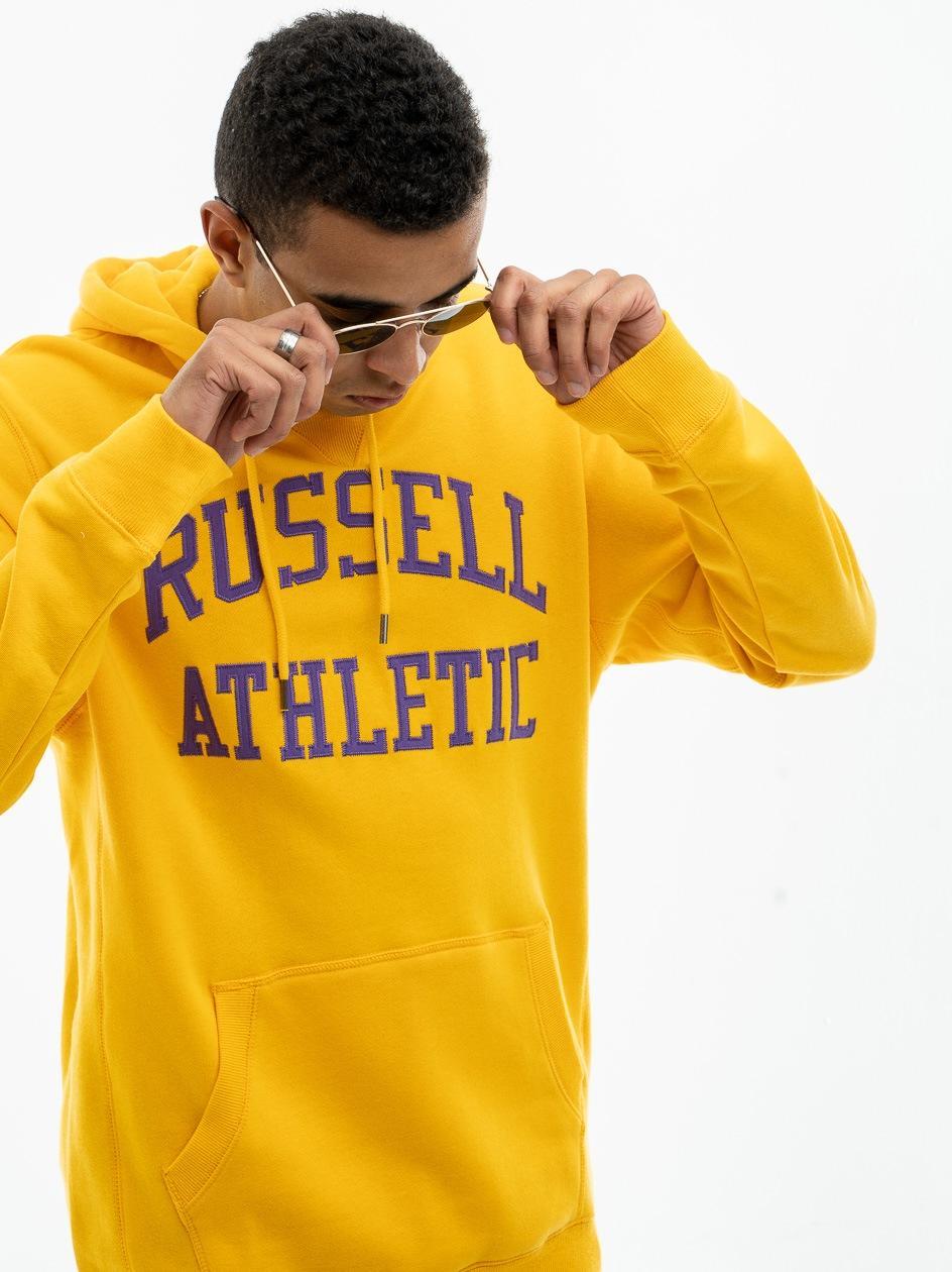 Bluza Z Kapturem Russell Athletic Haft Logo Żółta