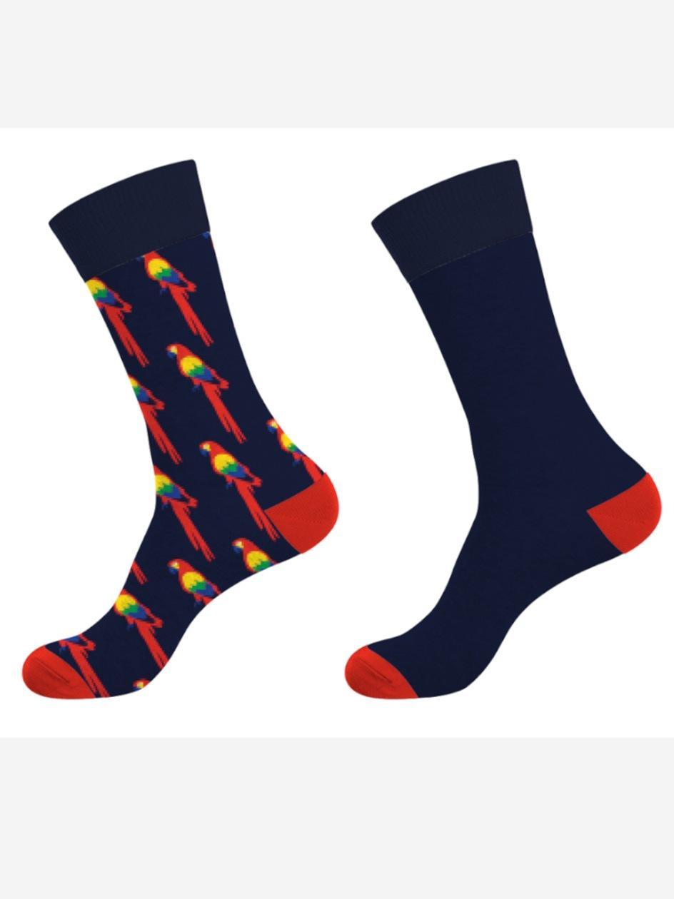 Zestaw 2 Par Długich Skarpet Crazy Socks Parrot Granatowe
