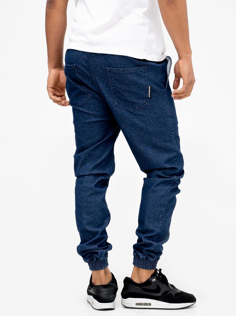 Spodnie Jeansowe Jogger Ze Ściągaczem Grube Lolo Small Logo Colour Front Niebieskie