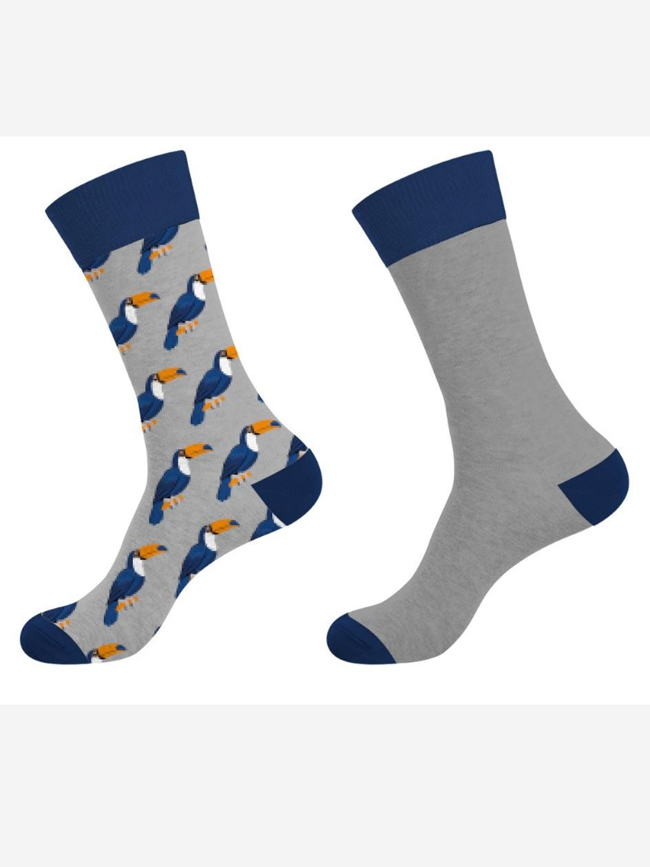 Zestaw 2 Par Długich Skarpet Crazy Socks Toucan Szare