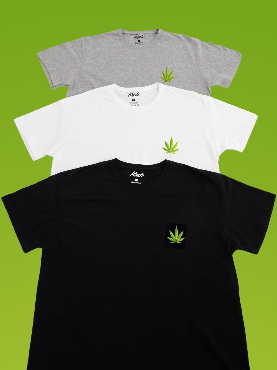 Zestaw 3 T-Shirtów Kush Mini Leaf Czarny / Biały / Szary