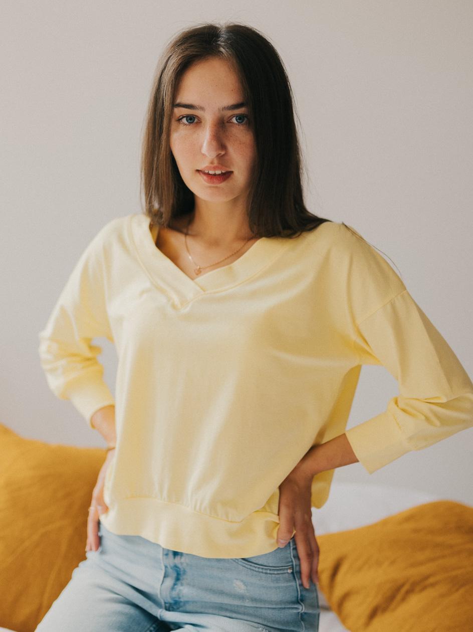 Damska Koszulka Z Długim Rękawem Point X Retro Żółta