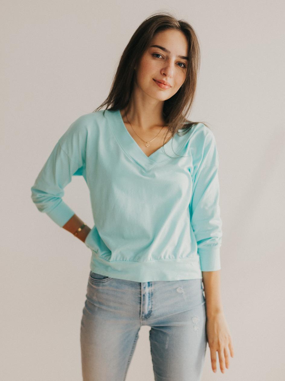 Damska Koszulka Z Długim Rękawem Point X Retro Miętowa