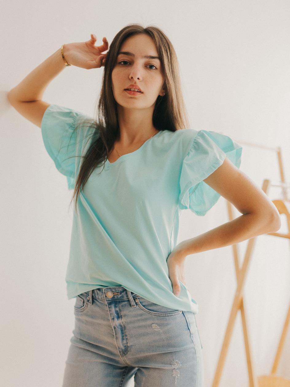 Damska Koszulka Z Krótkim Rękawem Point X Wavy Sleeves Miętowa
