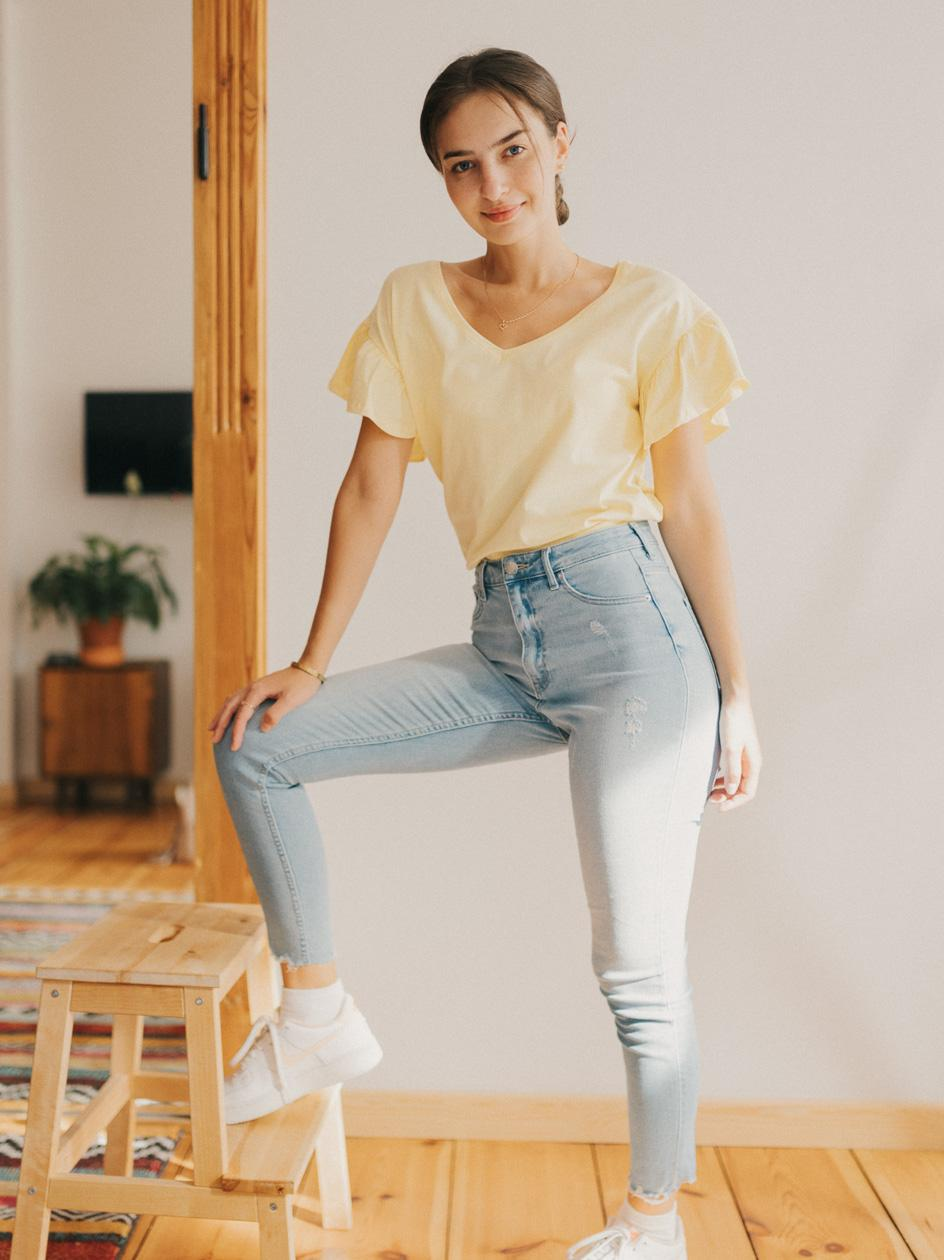 Damska Koszulka Z Krótkim Rękawem Point X Wavy Sleeves Żółta