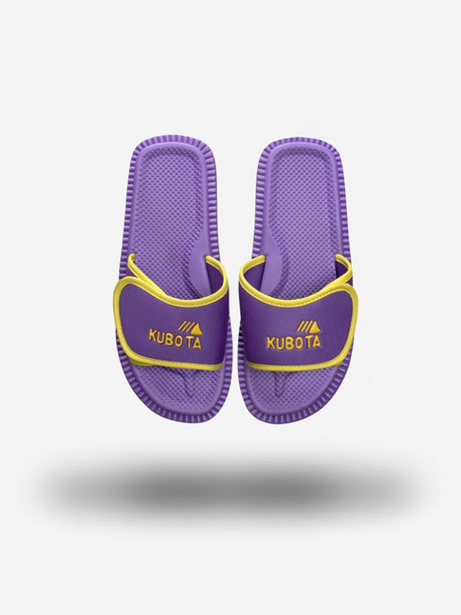 Klapki Kubota Na Rzep Logo Fioletowe / Żółte