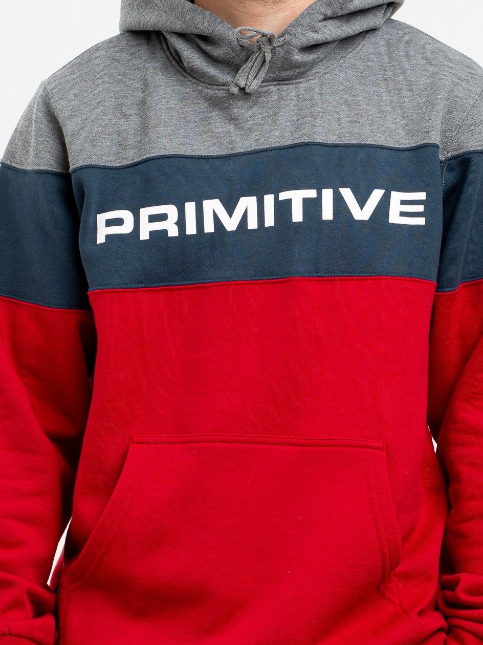 Bluza Z Kapturem Primitive Levels Szaro Granatowo Czerwona