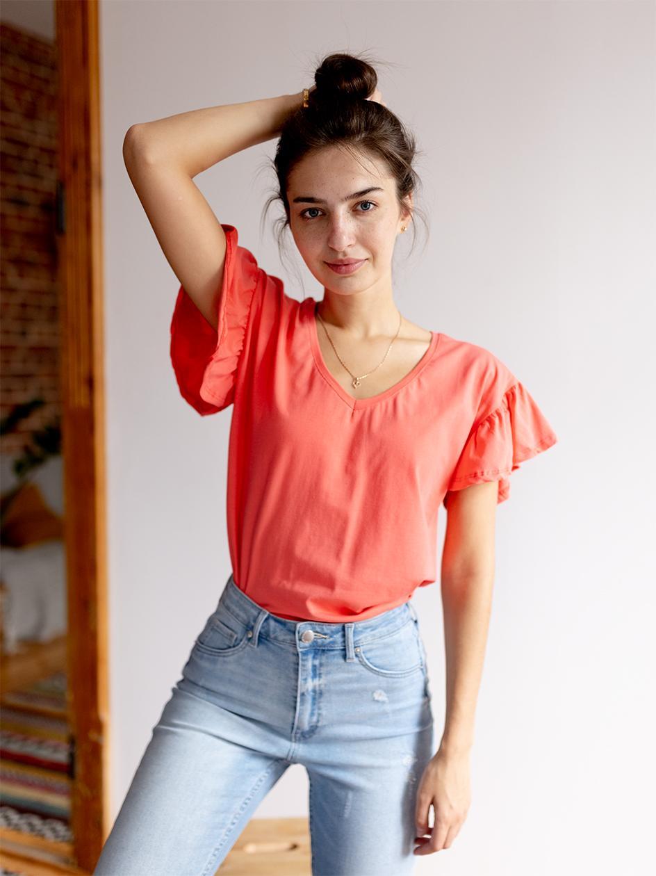 Damska Koszulka Z Krótkim Rękawem Point X Wavy Sleeves Różowa