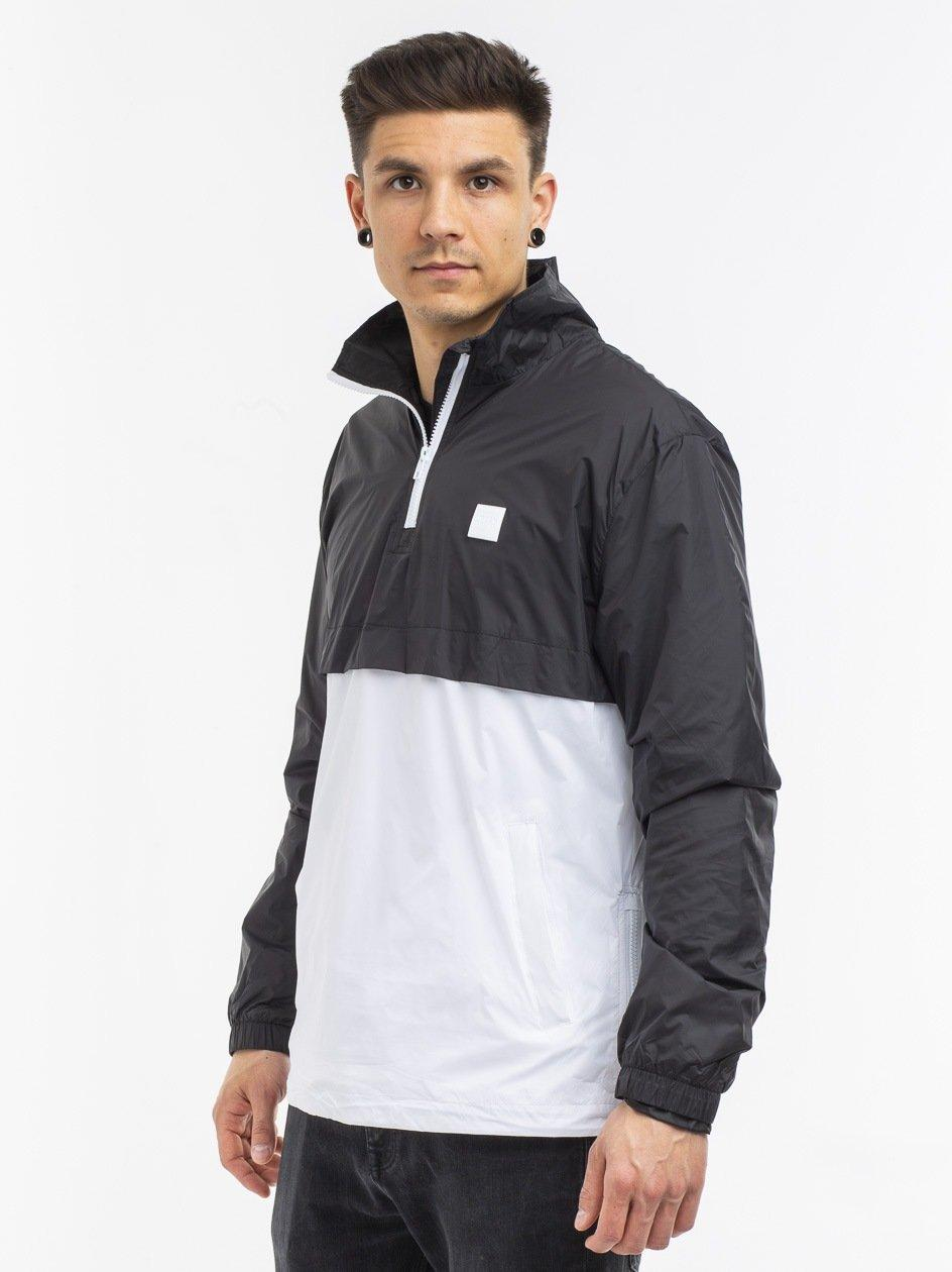 Stand Up Collar Pull Over Jacket Black White TB2748