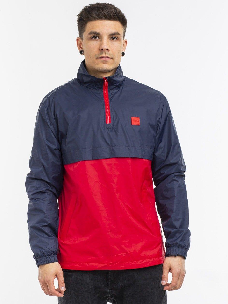Crinkle Panel Track Jacket Navy Fire Red TB2748