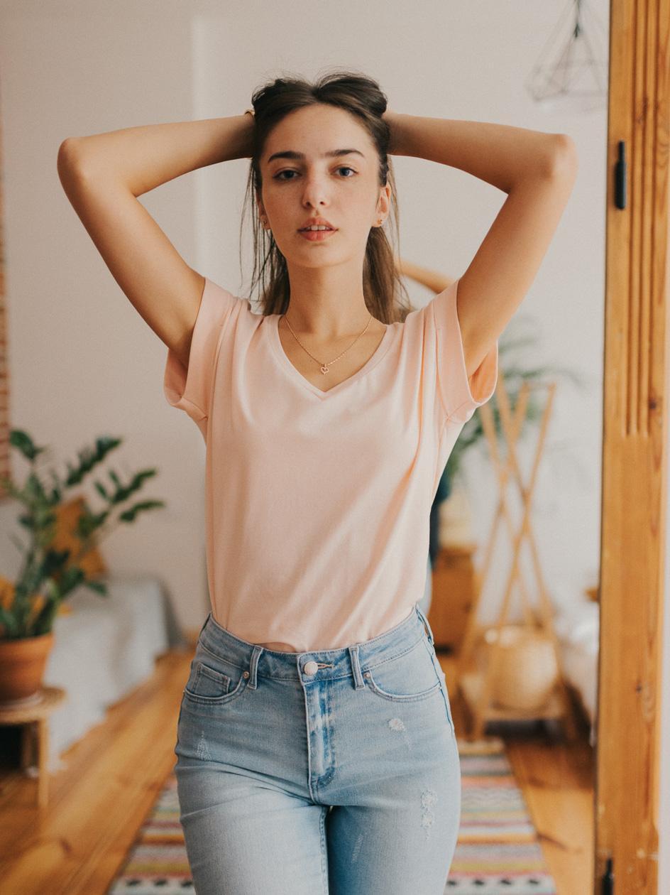 Damska Koszulka Z Krótkim Rękawem Point X Wrap Jasna Różowa