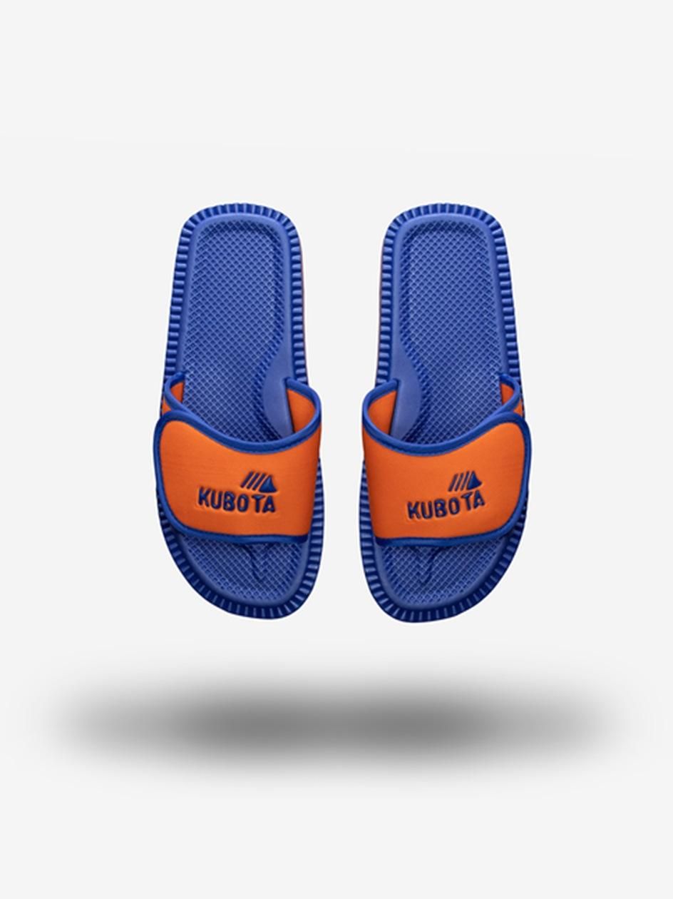 Klapki Kubota Na Rzep Logo Niebieskie / Pomarańczowe