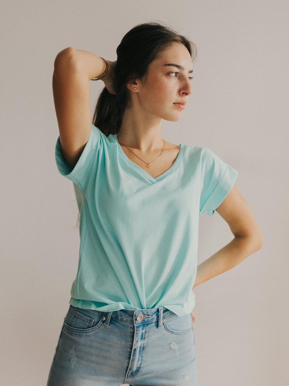 Damska Koszulka Z Krótkim Rękawem Point X Wrap Miętowa