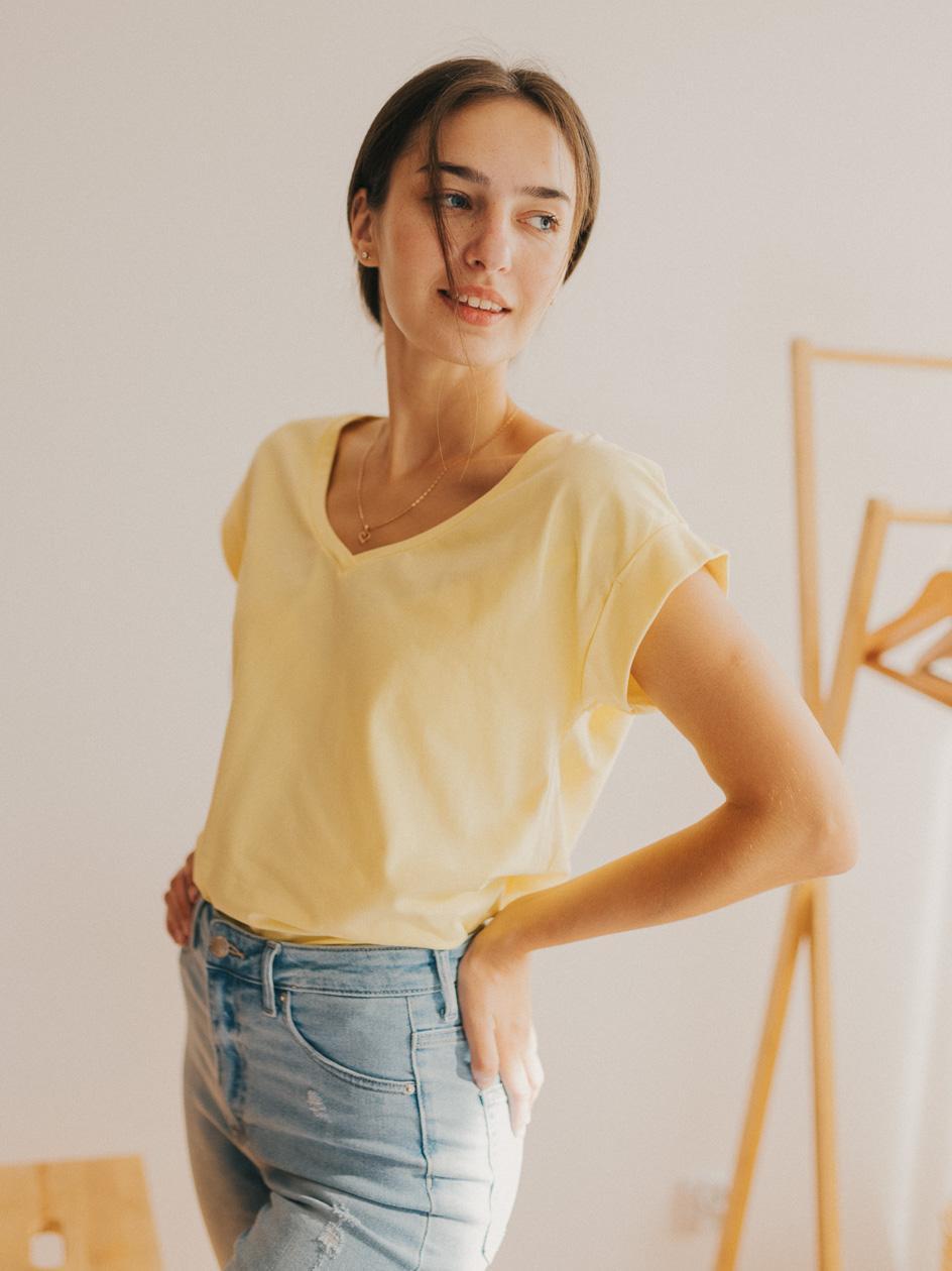 Damska Koszulka Z Krótkim Rękawem Point X Wrap Żółta