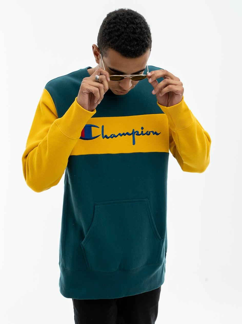 Bluza Bez Kaptura Oversize Champion Logo Script Belt Zielona