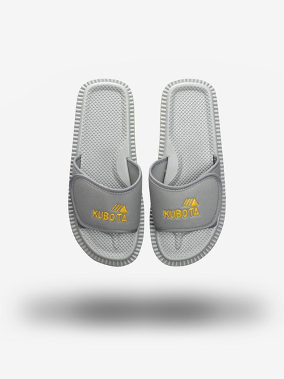 Klapki Kubota Na Rzep Logo Szare / Żółte