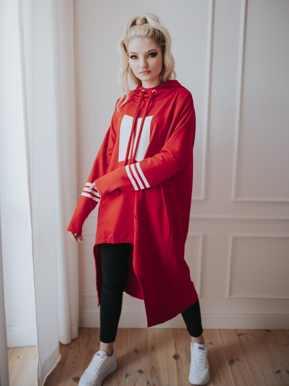 Damska Bluza Z Kapturem Przedłużana Point X Order Czerwona