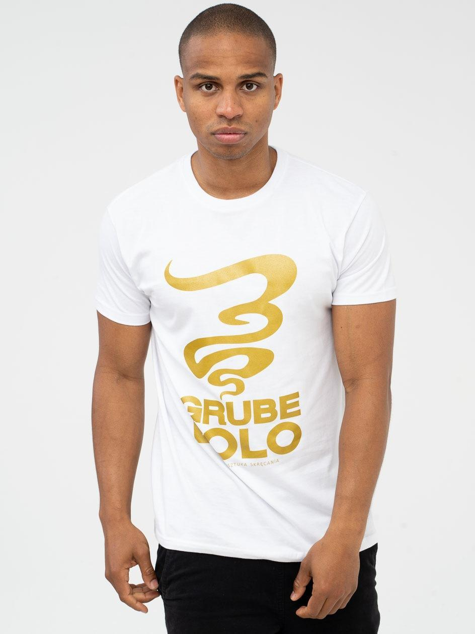 Koszulka Z Krótkim Rękawem Grube Lolo Big Logo Biała / Złota PRODUKT Z WADĄ