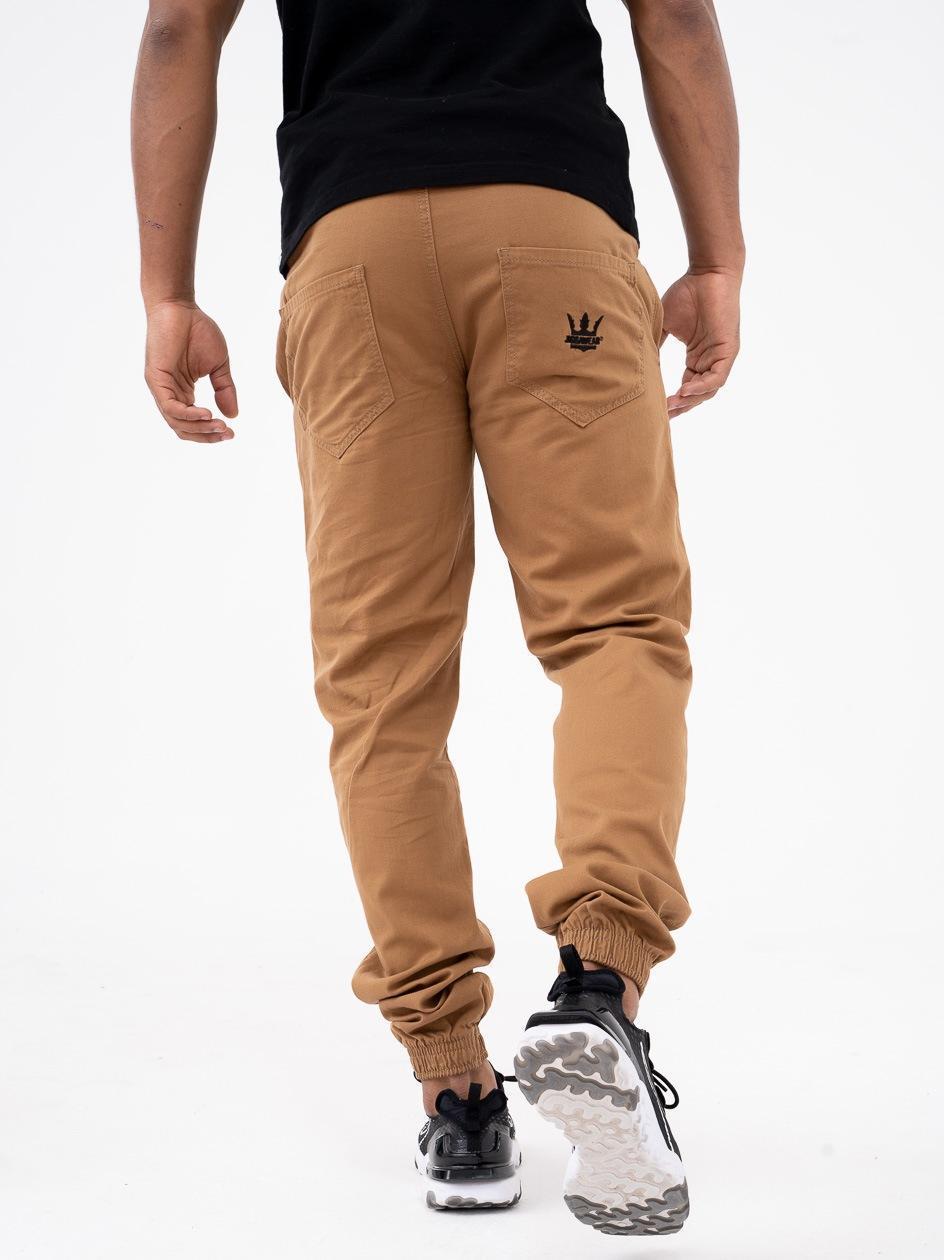 Spodnie Materiałowe Jogger Ze Ściągaczem Jigga Crown Jasne Brązowe / Czarne PRODUKT Z WADĄ