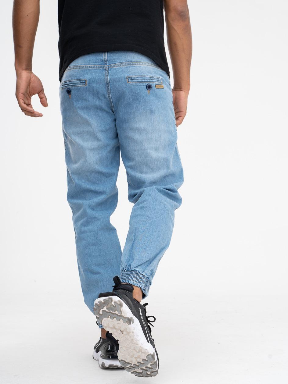 Spodnie Jeansowe Jogger Chino Ze Ściągaczem Outsidewear Classic EL Jasne Niebieskie