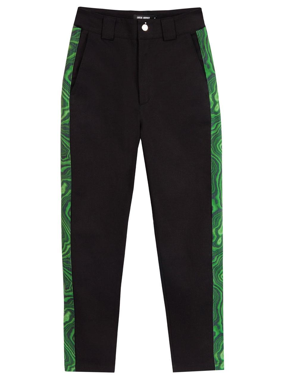 Damskie Spodnie Jeansowe Z Lampasem Local Heroes Printed Stripes Czarne