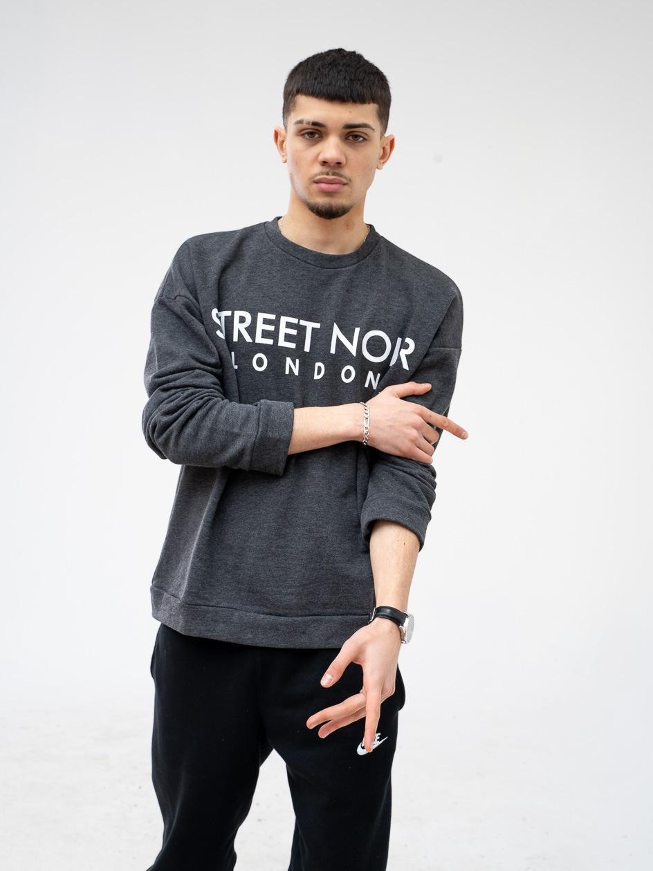 Bluza Bez Kaptura Street Noir London Ciemna Szara