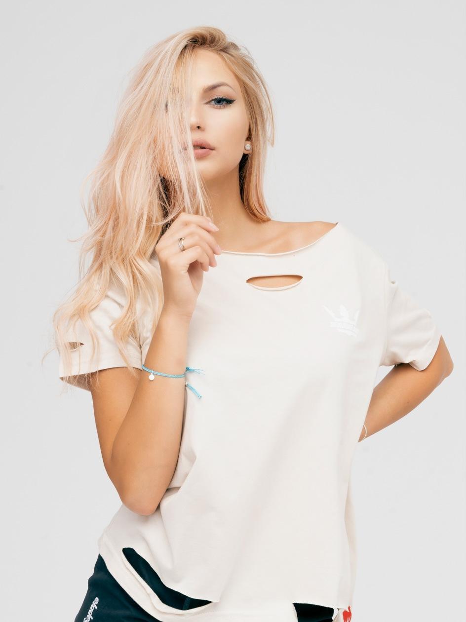 Damska Koszulka Oversize Z Rozcięciami Jigga Wear Crown Cut Beżowa