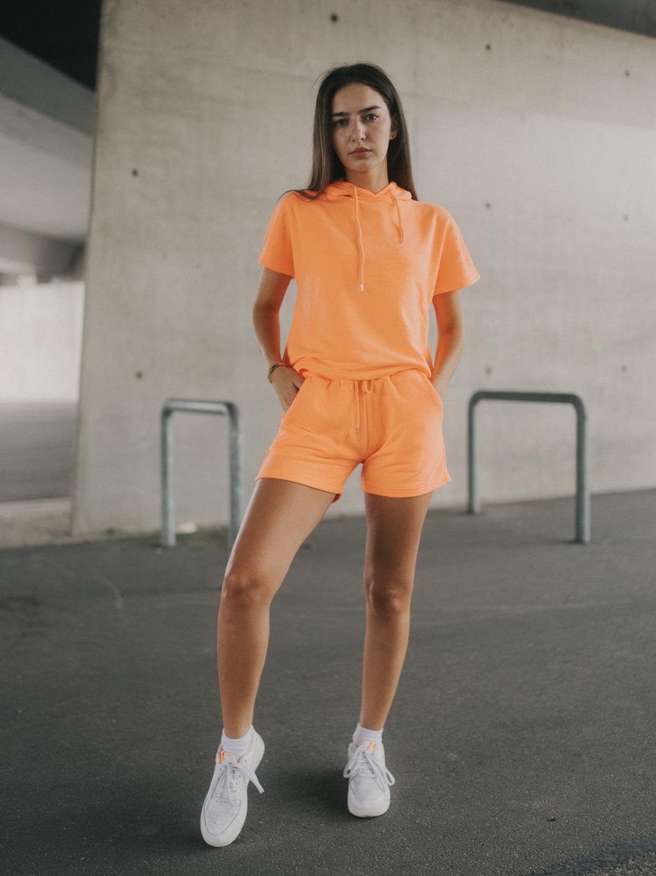 Damski Zestaw Krótka Bluza Z Kapturem I Krótkie Spodenki Dresoey Point X Loose Neonowy Pomarańczowy