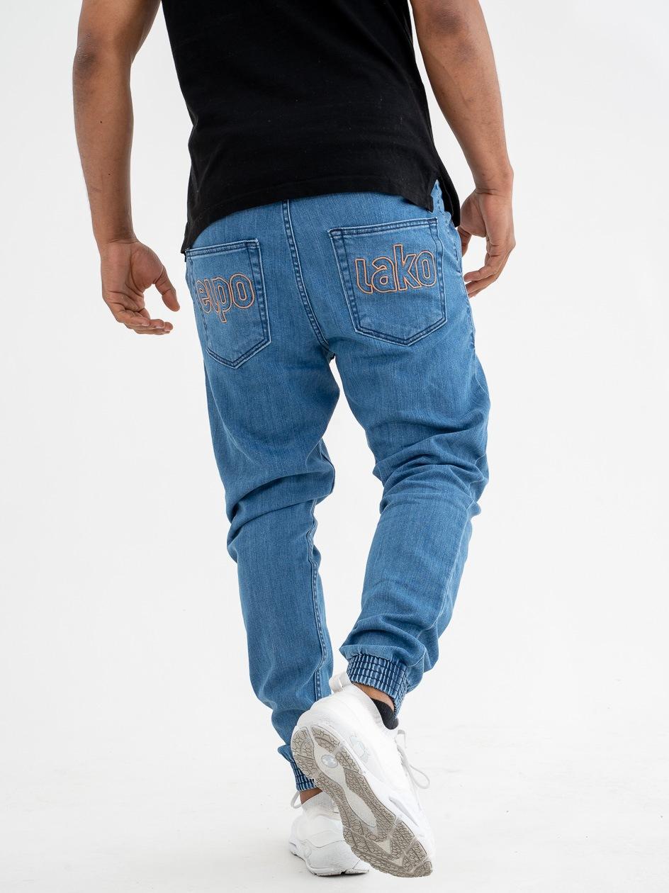 Spodnie Jeansowe Slim Jogger Ze Ściągaczem El Polako Me Elpo Jasne Niebieskie