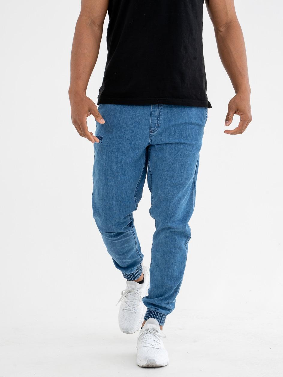 Spodnie Jeansowe Slim Jogger Ze Ściągaczem El Polako Front Classic Jasne Niebieskie