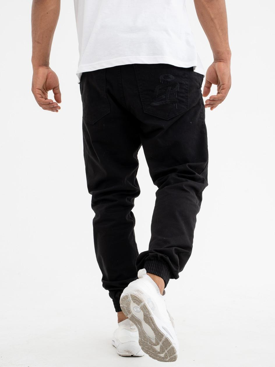 Spodnie Materiałowe Slim Jogger Ze Ściągaczem El Polako Ep Tag Czarne