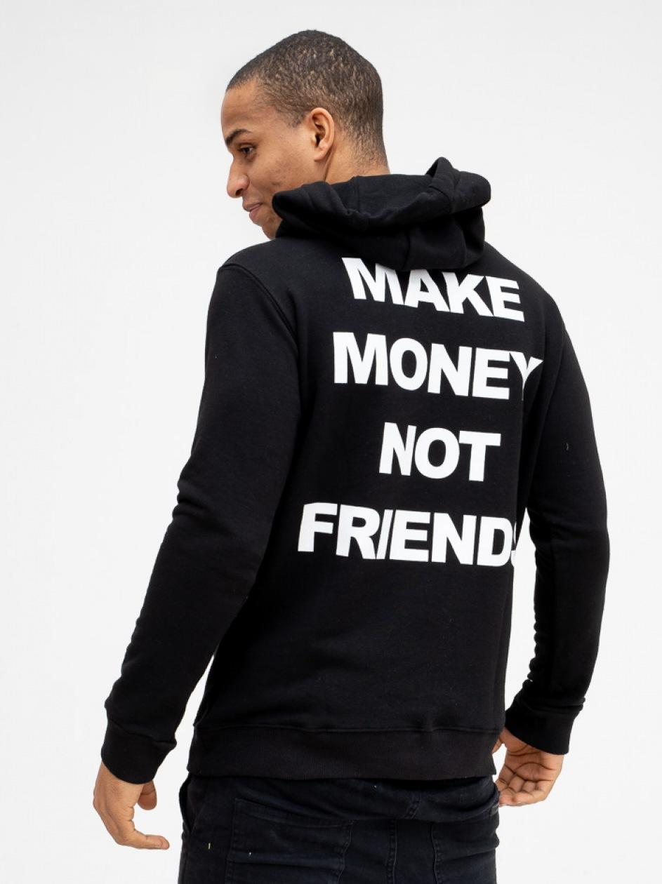 Bluza Z Kapturem Make Money Not Friend Name Czarna