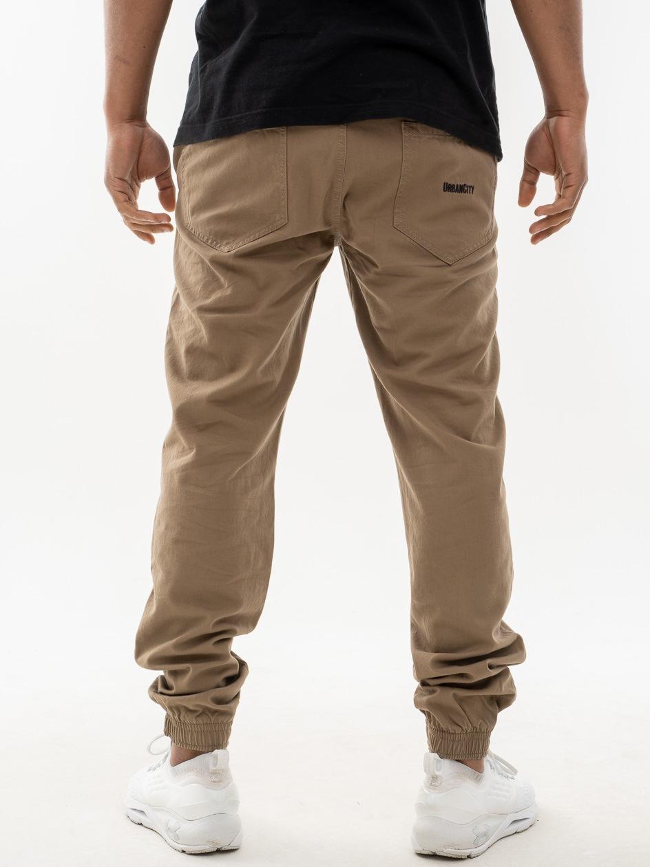 Spodnie Materiałowe Jogger UrbanCity Name Pocket Jasne Brązowe