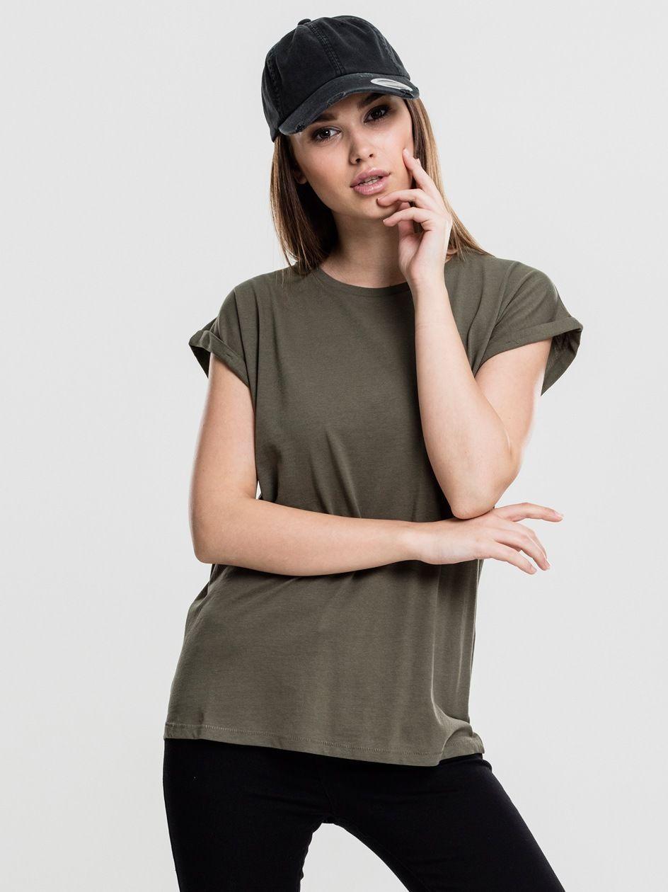 Damska Luźna Koszulka Z Krótkim Rękawem Urban Classics TB771 Oliwkowa