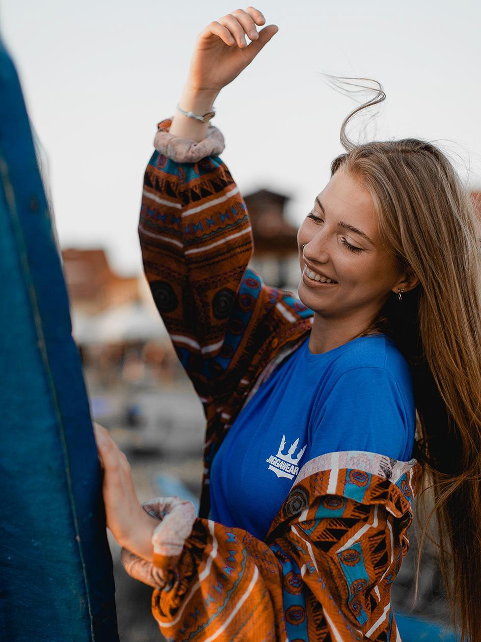 Damska Koszulka Z Krótkim Rękawem Jigga Classic Logo Ciemna Niebieska
