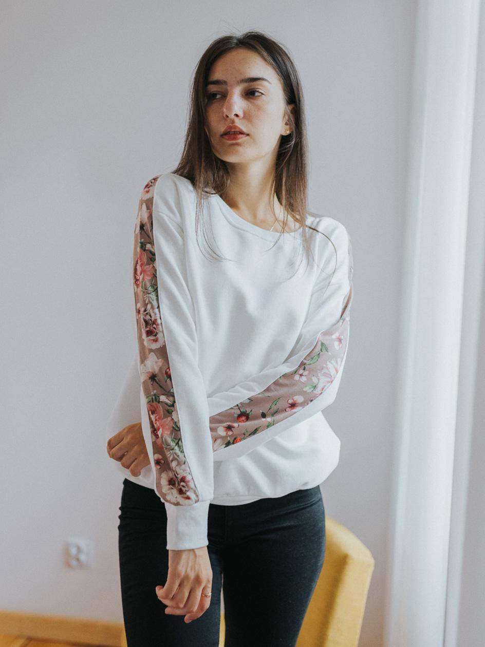 Damska Bluza Bez Kaptura Point X Flowers Tape Biała