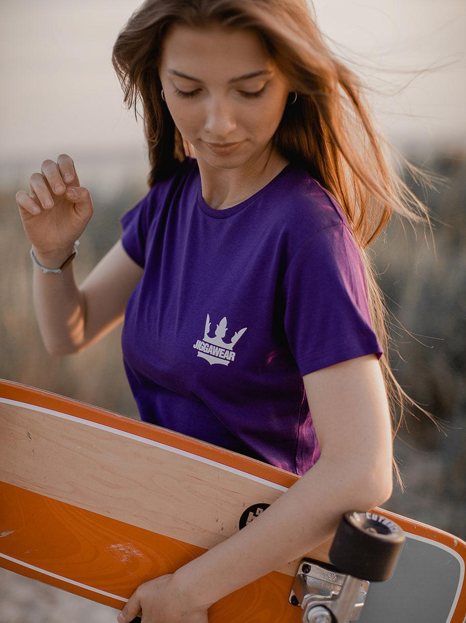 Damska Koszulka Z Krótkim Rękawem Jigga Classic Logo Fioletowa