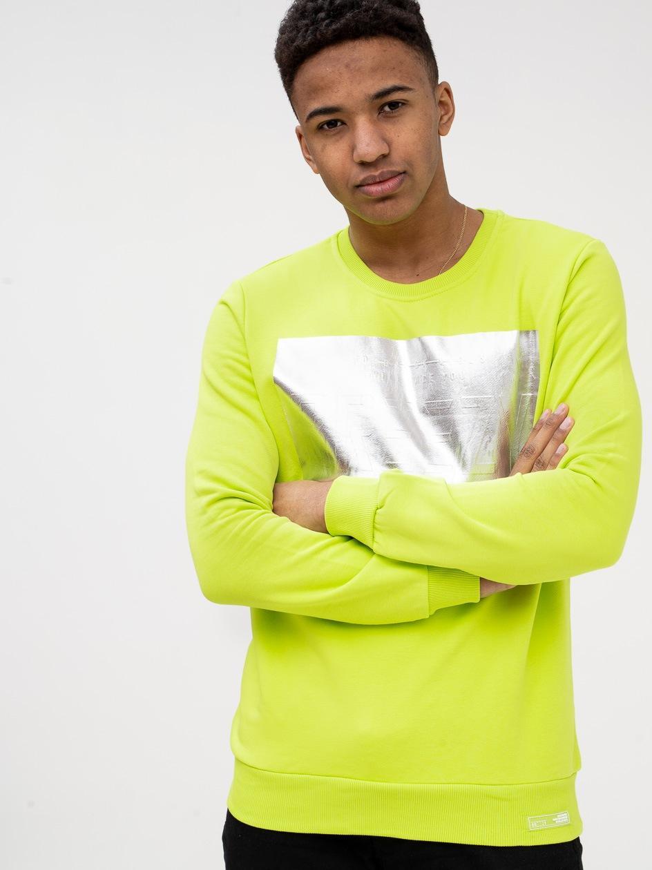 Bluza Bez Kaptura Breezy Silver Panel Limonkowa