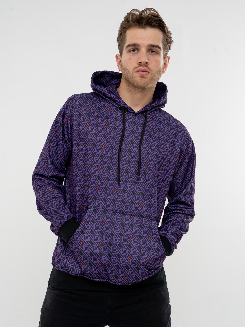 Bluza Z Kapturem SSG Lux Geometric Fioletowa