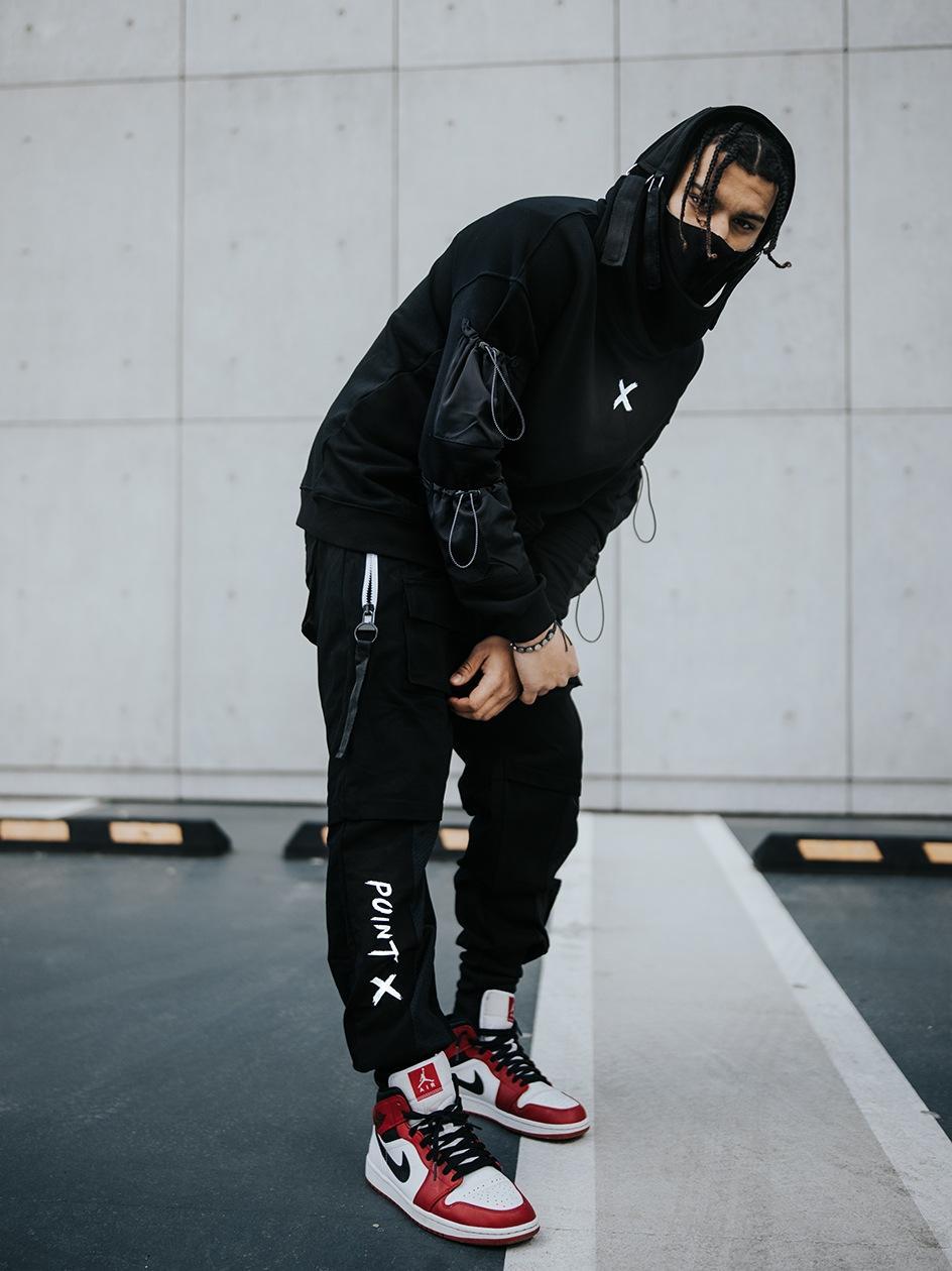 Spodnie Materiałowe Jogger Point X Modern Czarne / Białe