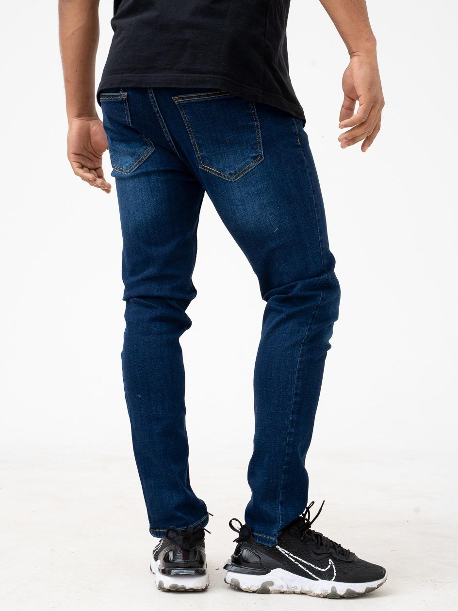 Spodnie Jeansowe Slim Breezy Core Ciemne Niebieskie Wycierane