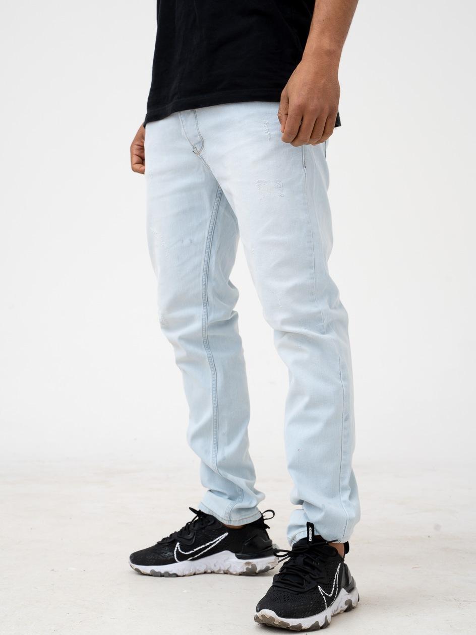 Spodnie Jeansowe Z Przetarciami Breezy Core Premium Jasne Niebieskie