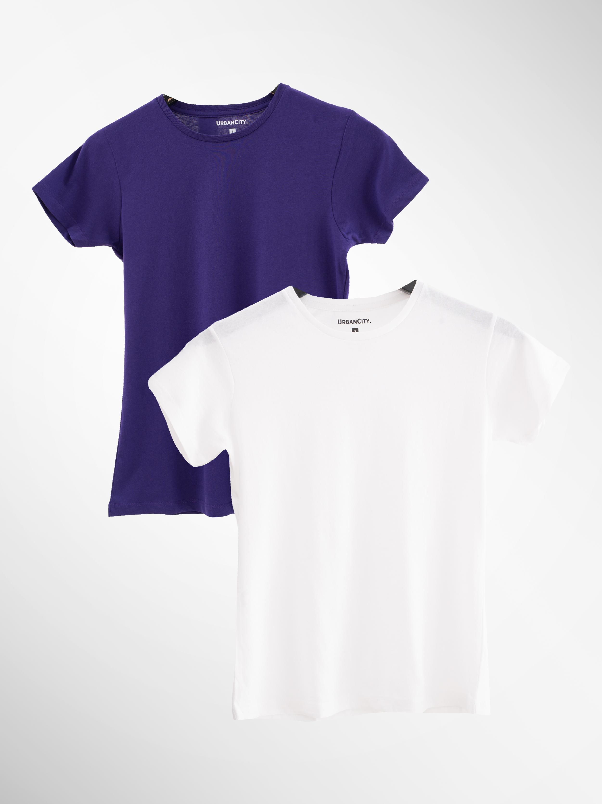 Zestaw 2 Damskich T-Shirtów Urban City No Logo Basic Biały / Fioletowy