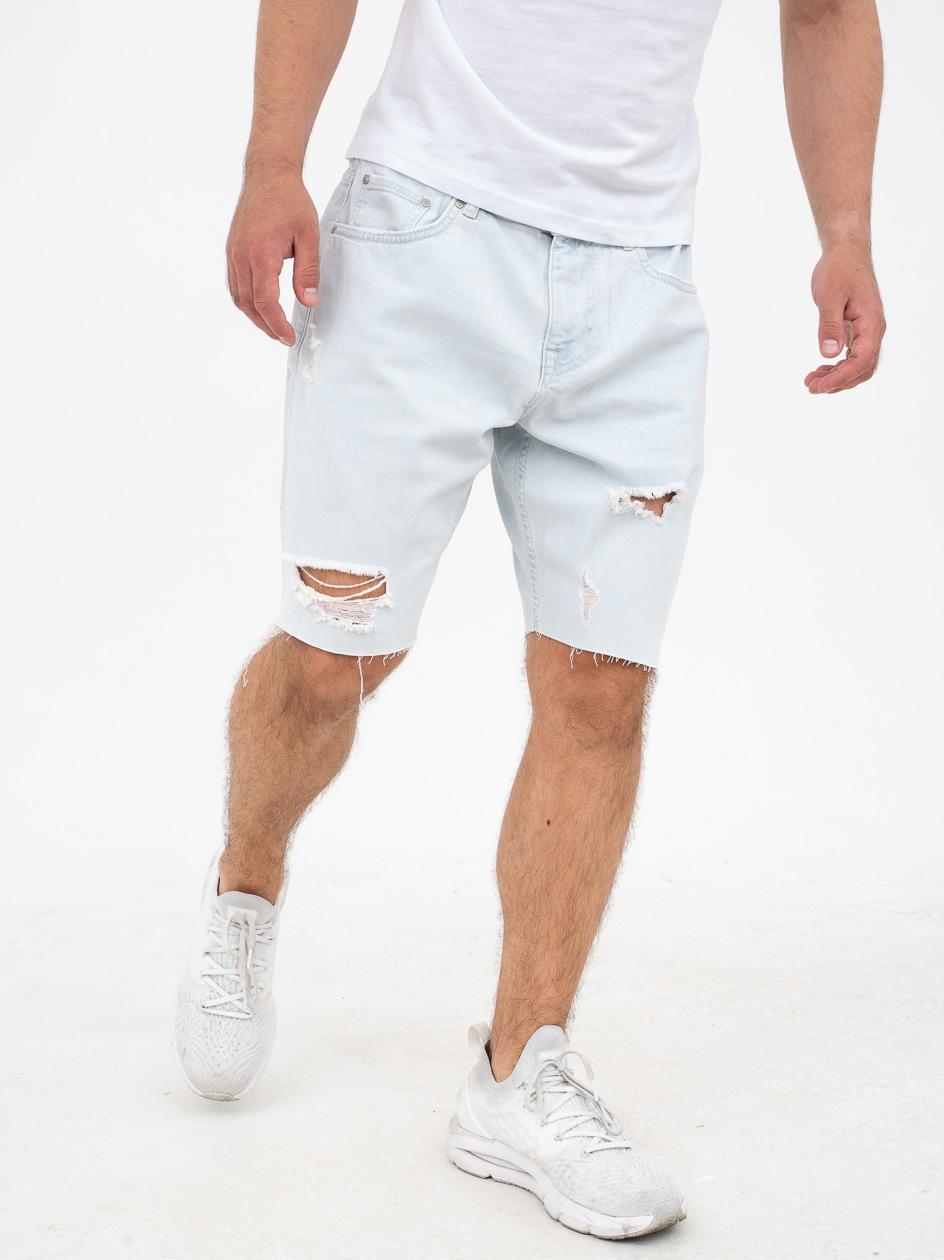 Krótkie Spodenki Jeansowe Z Uszkodzeniami Jigga Wear Ripped Jasne Niebieskie