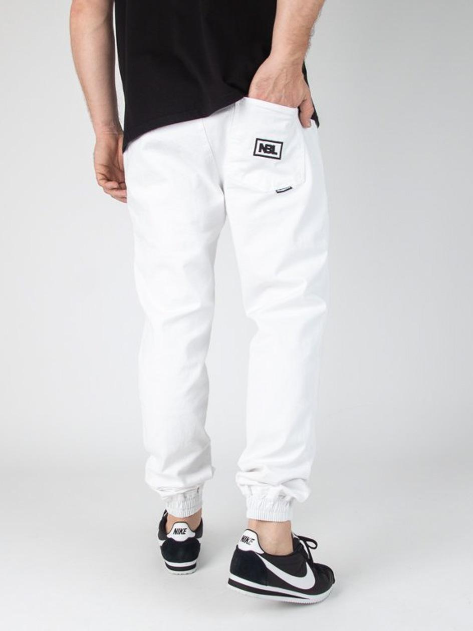 Spodnie Materiałowe Chino Jogger Ze Ściągaczem New Bad Line Icon Białe