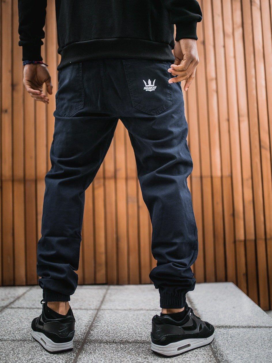 Spodnie Materiałowe Jogger Ze Ściągaczem Jigga Wear Crown Ciemne Niebieskie