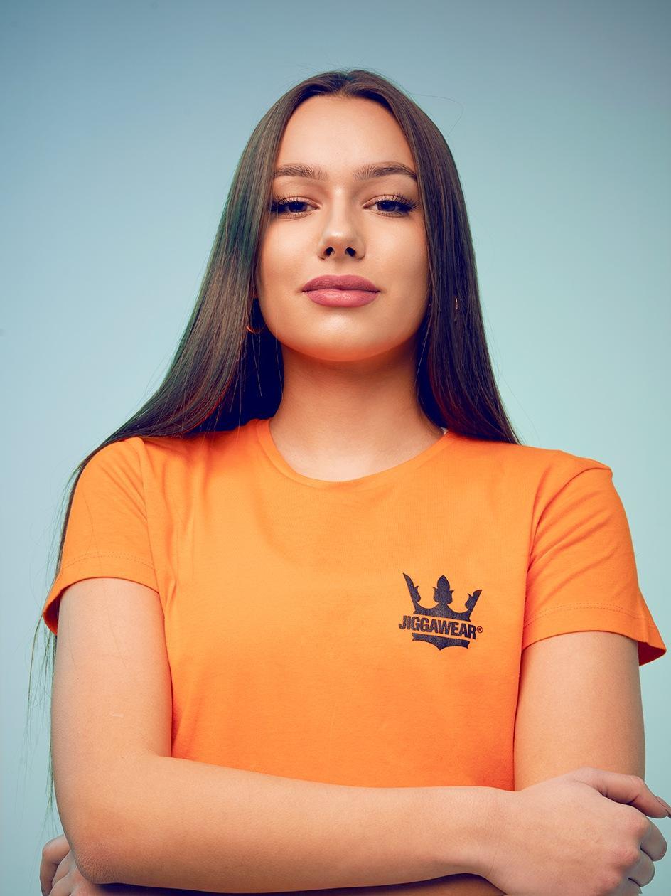 Damski T-shirt Jigga Classic Logo Pomarańczowy / Czarny